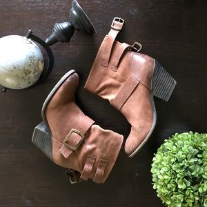 Lucky Brand Leather Ankle Boots with Buckle Detail
